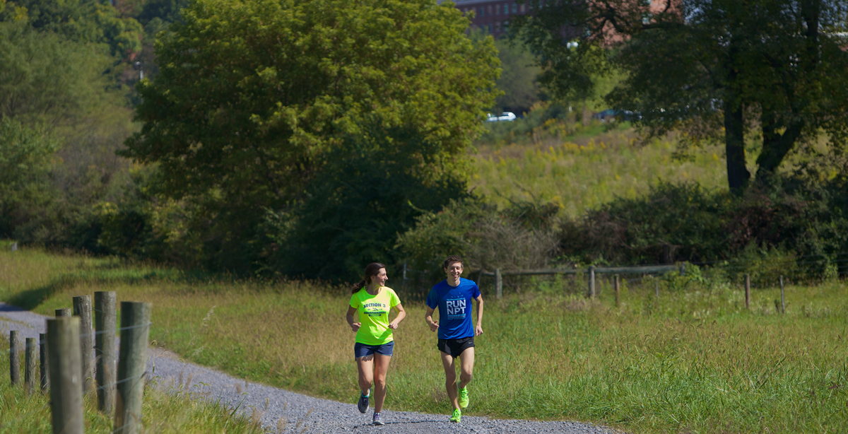 The coolBLUE Community at Innovation Park offers many benefits to resident companies, including running paths.